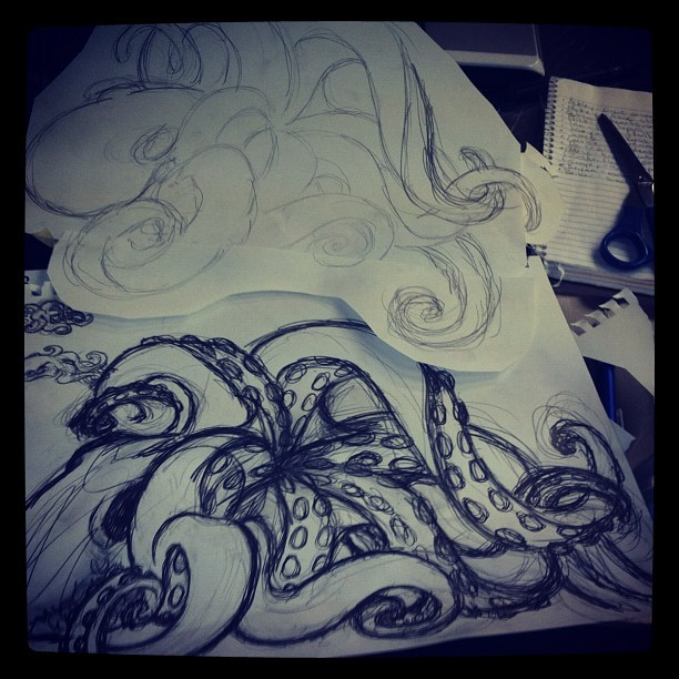 MASSIVE OCTOPUS IS GO #octopus #sketch #art #drawing #lynnhessel #nautical #tattoo #tattoodesign #design  (Taken with instagram)