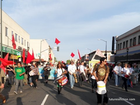 Another photo of the Occupy Oakland general strike, here they are approaching Chinatown. I never thought to take a drum to a protest, even though they're an essential element in keeping spirits high. Wouldn't be that hard to make one, I imagine. Next protest, maybe turn over one of those empty paint buckets and see how it sounds.