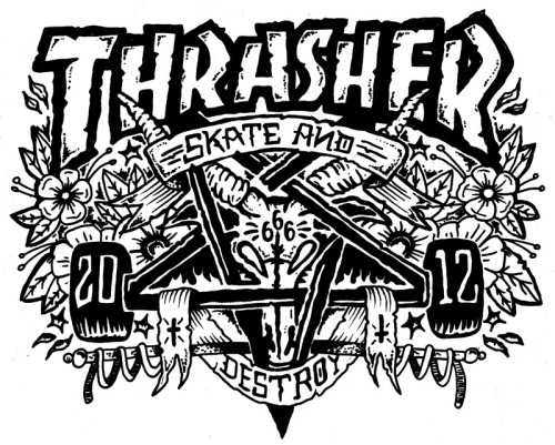 This is my entry for a #Thrasher skategoat illustration contest. Click the pic to go through to the page and vote for mine if you would be so kind! You dont have to put in an email or FB share or anything, just click and vote! Thanks everyone! Feel free to repost for me too! If I win i get a skateboard (which is kewl!) but really i just wanna get my work up with thrasher and maybe see this as a tee eventually!