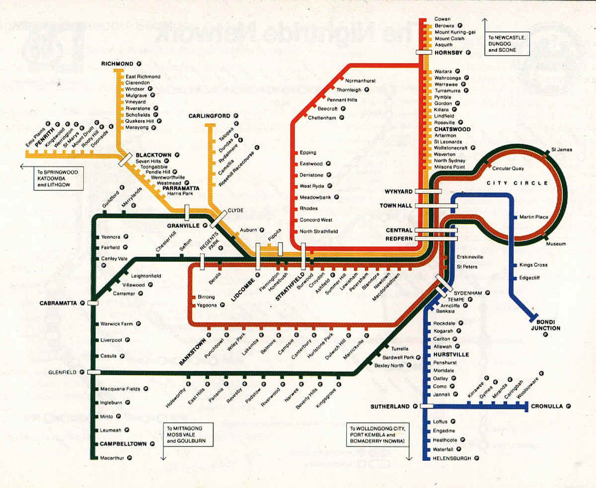 Historical Map: Sydney CityRail Network Map, 1992 Now this is the transit map of my youth. Sydney's CityRail map went through a few different looks in the mid-80s and early-90s, but this is the one that sticks in my memory the most. This map shows both the first growth in the system for a number of years with the extension of the East Hills line to Glenfield, but also the last remnants of the old with the vestigial Pippita branch still in existence. The Carlingford line has also yet to be assigned its now-distinctive navy blue colour, the Cumberland line doesn't exist yet, the Airport line is still in early planning, and the Epping-Chatswood line hasn't even begun to be thought of. Have we been there? Home from age 5 to 35! What we like: Ridiculous amounts of nostalgia. Clear and easy to follow - although the simplistic radial nature of the system (with all lines passing through Central station) also has something to do with this. What we don't like: Some uneven spacing of station names - the stations along the Richmond line in particular seem unnecessarily cramped, while the station names along the Carlingford line are oddly placed at a 45-degree angle when there's plenty of room to fit them in horizontally. There's also some weird design idiosyncrasies that don't reflect the service patterns offered at the time. The Richmond, Carlingford and Cronulla Lines are all shown as if they are spur lines, terminating where they join onto their respective main lines. In reality, all of these lines offered service that continued all the way into the city. Strangest of all is the right-angle split of the Northern Line (Red) just south of Hornsby which gives absolutely no indication of which direction trains go in if they're coming from Epping. North? South? Into a brick wall?  Our rating: Pleasantly nostalgic, but not as brilliant as I remember it when viewed in the cold light of day. Three stars.  (Source: NSWrail.webs.net Map Archive)