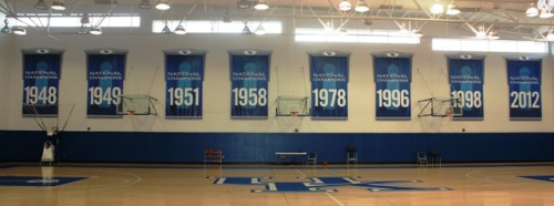 The 2012 banner has officially been hung in the Joe Craft practice facility.