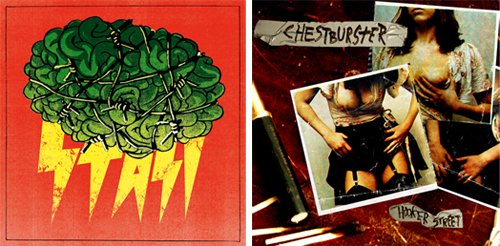 "Stasi / Chestburster – 7"" (GI7-001) Stasi – Syrup Song     Stasi – Martian Fellowship         Chestburster – Hooker StreetCo-release with Mosh Part Records & Saimaan Silakat (2010)"