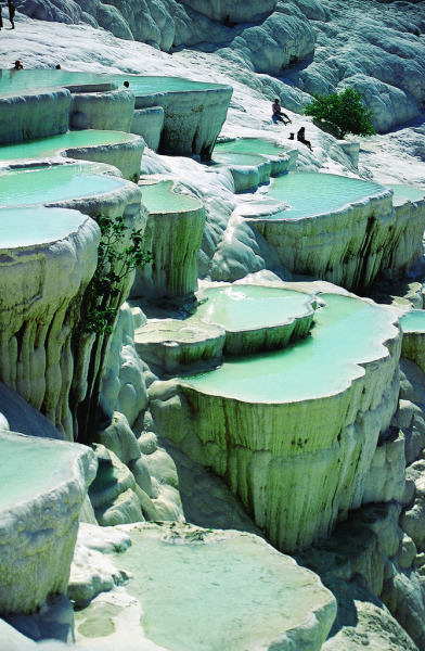 Natural Rock Pools in Pamukkale, Turkey
