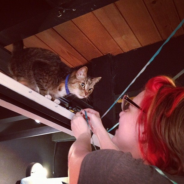 Manju is helping! (Taken with Instagram at Sequential Art Gallery)