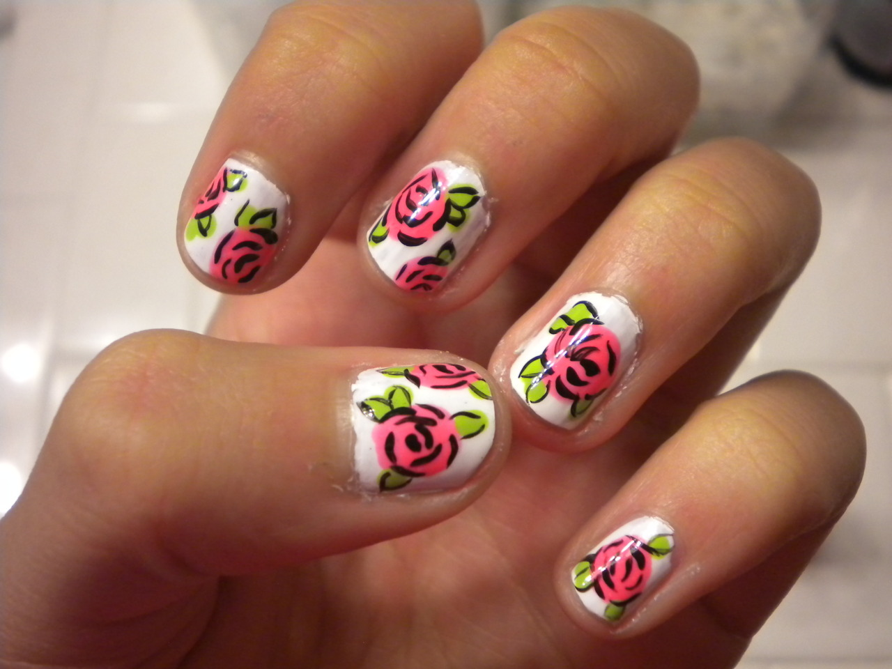 nailsbydesign:  Pink Rose Nails!