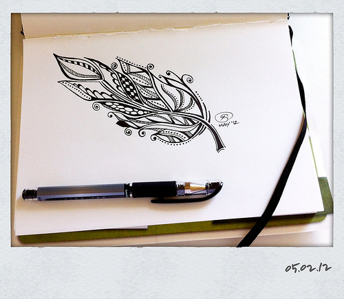 Feather I (Feather Series)— © X.S. 05.02.12 This was inspired by a Zentangle-ish feather design I saw on Pinterest. I thought I'd try it out for myself.
