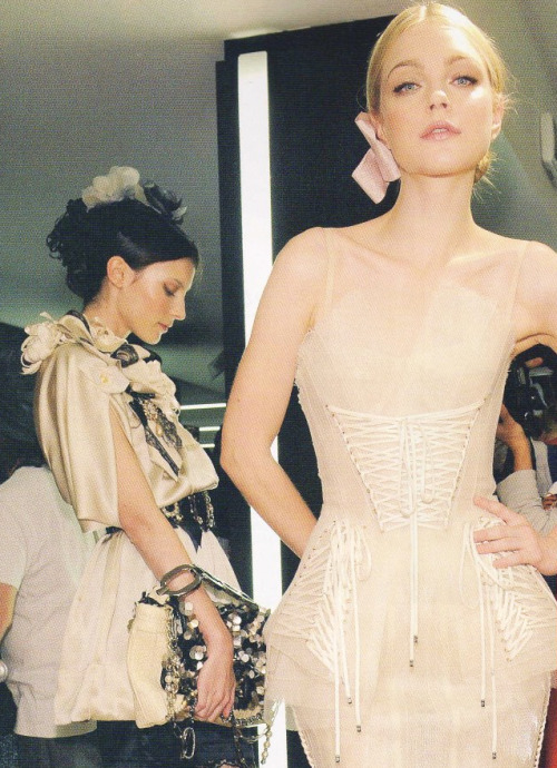 Jessica Stam & Anna Kuchkina backstage at Dolce and Gabbana Spring 2009.