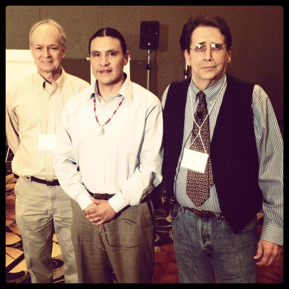 """L-R: Stephen Cornell (NativeNations institute stronghold guy- Univ of AZ)  Me,  Frank Pommersheim (Author of Braids of Feathers -wicked ill Indian law scholar) lastrealindians by association >;) mad respek to me brethren."" Chase Iron Eyes (Source:  Chase Iron Eyes)"