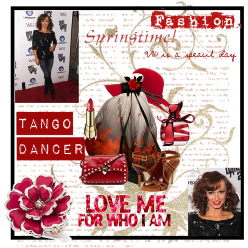 Tango Dancer by crazy-me-crazy featuring a gold lipstickElizabeth and James ankle strap shoes, $325Valentino leather bag, $1,595Mixit pink jewelry, $9Wide brim hat, $128Dolce Gabbana gold lipstick, £23Nina ricci perfume, £42
