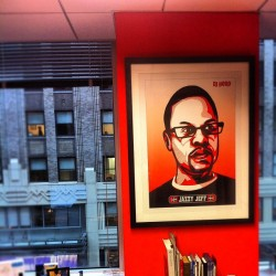 Framed wild posting via @eelain212 @activision campaign. DJ Jazzy Jeff staring at my office whiteboard Cc: @obeygiant #OBEY #META ^ps (Taken with Instagram at RAPP)