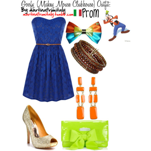 martinafromitaly:  Goofy (Mickey Mouse Clubhouse) Prom Outfit by martinafromitaly featuring brown jewelry  to buy the bow click here  Oasis strapless cotton dress, $95Badgley Mischka platform pumps, $200Juicy Couture sequin handbag, $158Kate spade jewelry, $78Dorothy Perkins brown jewelry, $17