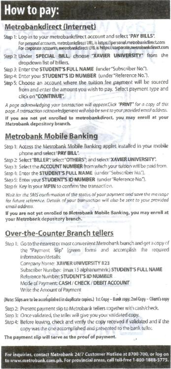 Easy ways to pay your Tuition Fee at Metrobank! Internet, Mobile, Metrobank Branches… :)