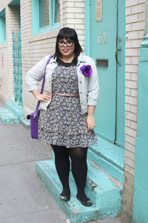 What I'm Wearing: Dress- ASOS Curve, Jean Jacket- Old Navy, Skinny Belt- ASOS Curve, Black Flats- TUK via Torrid, bag- Cambridge Satchel, Glasses- coastal.com, flower pin- Forever 21, Lipstick- Maybelline SuperStay 10 hr gloss in 120 http://missamandab.tumblr.com/