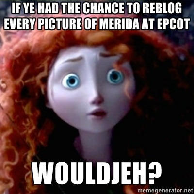 postdisneydepression:  If ye had the chance to reblog every picture of Merida at Epcot Wouldjeh?