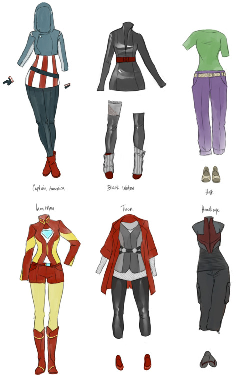 fashiontipsfromcomicstrips:  The Avengers, by kaciart. All of these Avengers-inspired ensembles hit the right notes, perfectly capturing the key elements of each hero's look, such as the minimal designs in The Hulk and Hawkeye's outfits and the structured, tailored digs on Iron Man. In short, kaciart is definitely delivering some straight-up Avengers REALNESS in here.   I would so wear the Thor outfit