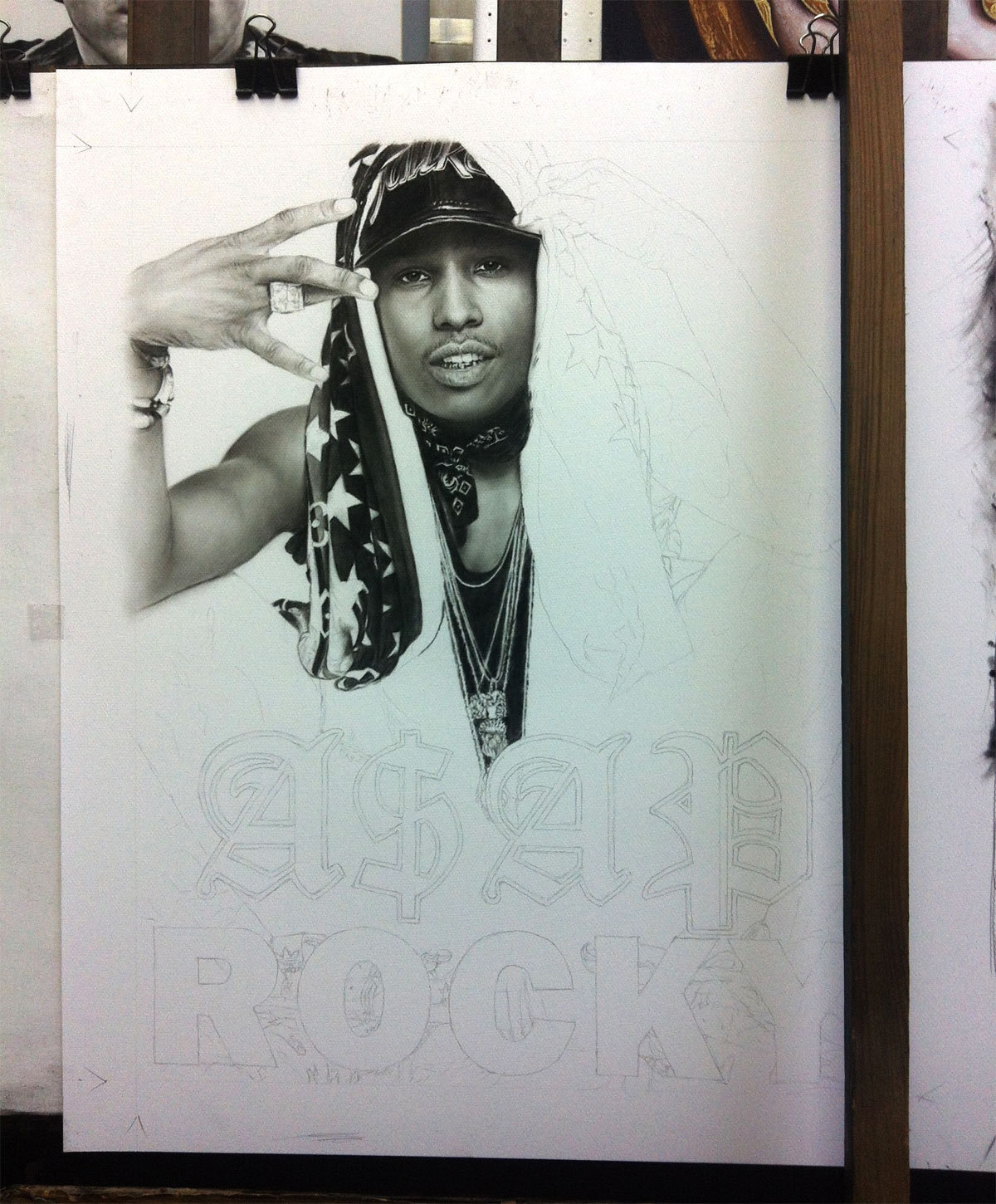 A$AP Rocky's charcoal drawing at 25% completion. The size of this is 60 x 40 inches and it's coming along pretty well.
