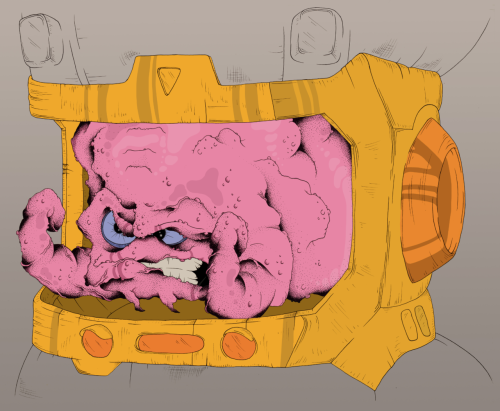 """Krang"" (2012) From a series of 90's cartoon-themed drawings I've been doing recently."
