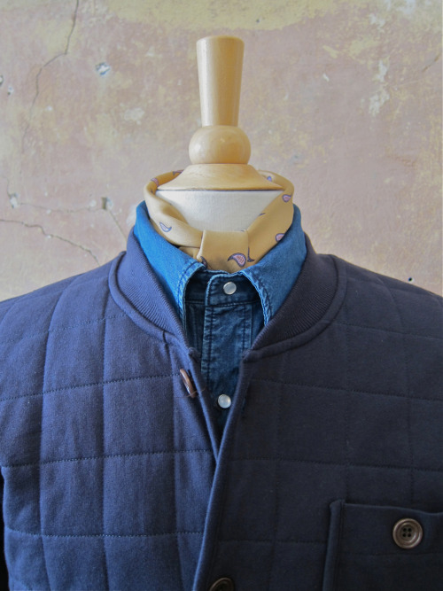 On the Mannequin:  quilted baseball jacket: YMC denim shirt: APC silk bandana: APC