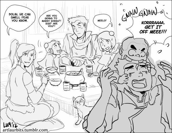 artlaurbits:  Team Korra babysits Tenzin's Kids -  I'll clean this up after Polterguys is done but this is for everyone who requested Tenzin's kids and babysitting. XD