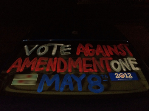 "voteagainstamendmentone:  jesseboy:  Newest addition to my car. I've been debating it for a few days now, and I decided that if I didn't do this, I would regret it.  I have to do what I can. Also, ""I wonder if the person who owns that car is a liberal,"" said no one about my vehicle, ever.  This is awesome.  I seriously considered doing something like this as well.  We should all do this!  This is great! Way to support the Against vote!"