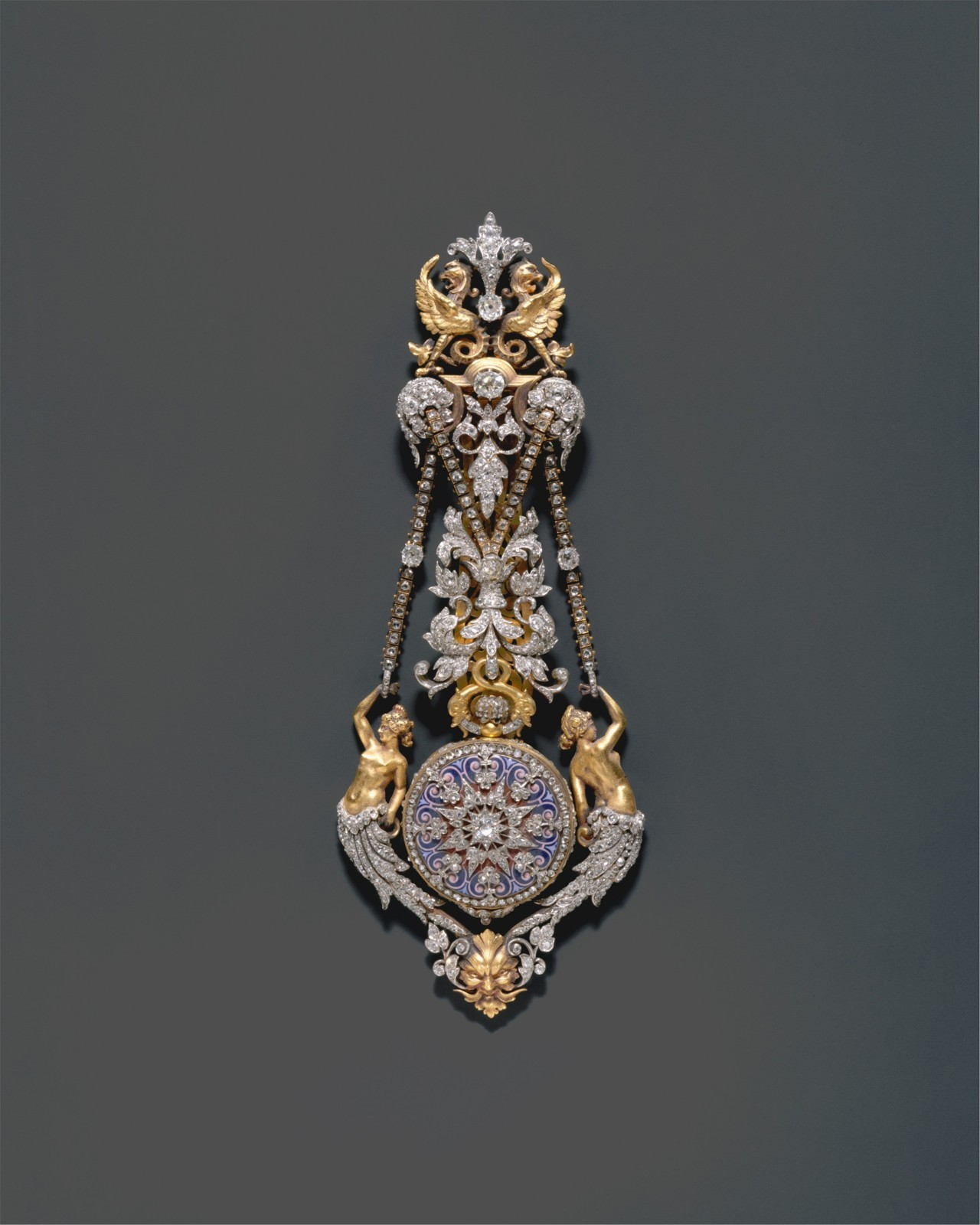 opus53:  Hippolyte Teterger (French), Watch and Chatelaine, 1870-1878 Gold, Platinum, and diamonds Metropolitan Museum of Art