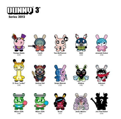 "Introducing Dunny 3"" Series 2012 The lineup of 3-inch 2012 Dunnys has leaked onto the Internet. And in spirit of ruining fun surprises, which is what the Internet was built for anyway, here it is for your viewing pleasure. Mainstays like Tara McPherson, MAD, and Kronk made the list. Andrew Bell is on there too, but the real surprise is Nakanari, who has a Spiki figure. There's no date yet for these 15 Dunnys, but it can't be too long of a wait. Last year's series launched in late June."