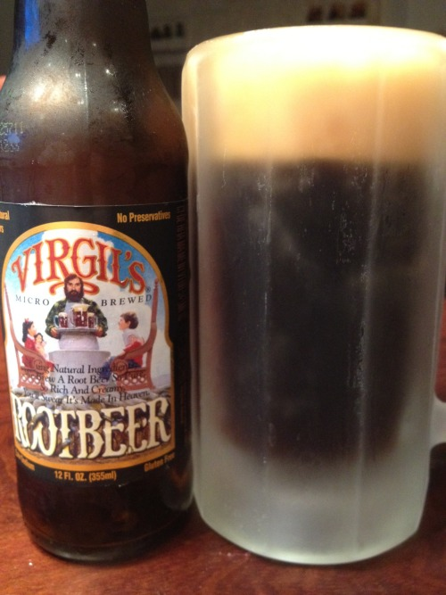 Root Beer: Virgil's Micro Brewed Root BeerWebsite: http://www.reedsinc.com/virgils/Rating: **/***** I never officially reviewed Virgil's Micro Brewed Root Beer, but I have had it before. I didn't care for it. However, I always see this root beer pop up on best of lists, so I had to try it again. Pouring it into a frosty mug, it had a very large head and a lot of fizz. It overflowed a little from the mug, which hasn't happened with other root beers. After tasting it, I think I was right with my initial thoughts on Virgil's. It was merely okay, but nothing special. I don't get the hype surrounding this root beer. It is gluten free, and uses real sugar, two things that are important to some people. In closing, Virgil's is an okay root beer that has a lot of fans. I'm not one of them.