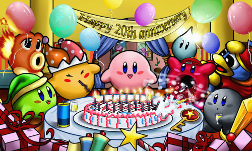 insanelygaming:  Kirby 20th Anniversary Party Created by Amadis Gomez