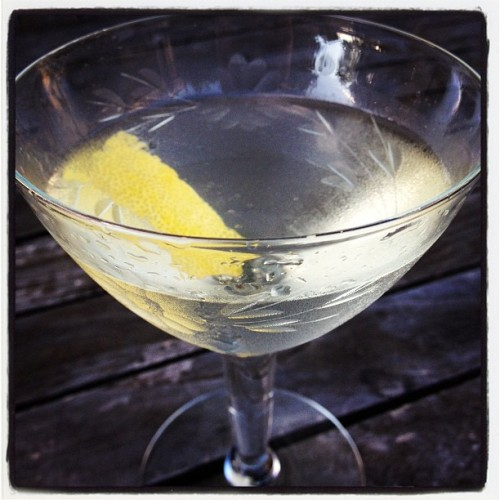 Ephemeral: 2 oz. Old Tom Gin, 1 oz. dry vermouth, 1 barspoon St. Germain liqueur, 1 dash celery bitters.