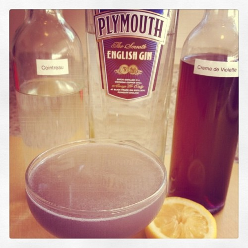 Water Lily: 0.75 oz. Plymouth Gin, 0.75 oz. Crème de Violette, 0.75 oz. Cointreau, 0.75 oz. lemon juice.