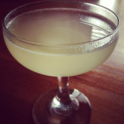 Vieux Mot: 1.5 oz. Plymouth Gin, 0.75 oz. lemon juice, 0.5 oz. St. Germain Liqueur, 0.5 oz simple syrup.