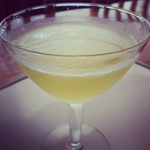 Leapfrog: 2 oz. Plymouth Gin, 0.75 oz. lemon juice, 0.5 oz. apricot liqueur, 0.25 oz. simple syrup, 2 dashes orange bitters, 6 mint leaves.