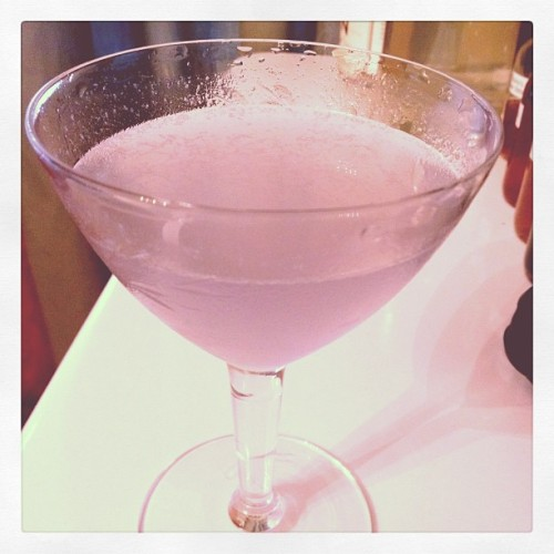 Aviation: 2 oz. Gin, 0.75 oz. lemon juice, 0.5 oz. Maraschino, 0.25 oz. Crème de Violette.