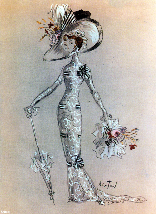 bellecs:  Cecil Beaton's original costume sketch for Audrey's ascot dress in My Fair Lady (1964)