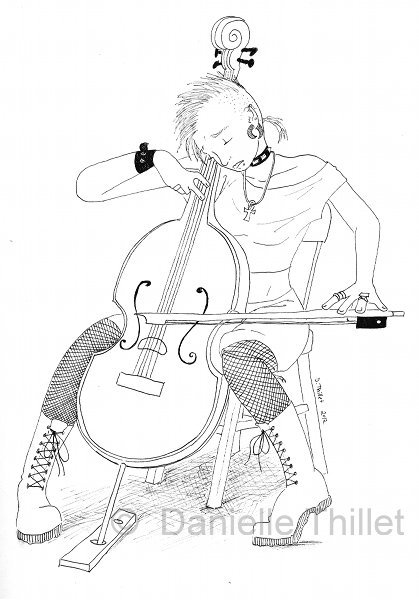 New sketchbook drawing: Punk cellist Yes, I realized after the fact that I made her left-handed. But some cellists are left-handed so, it's fine.