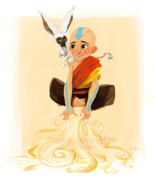 siminiblocker:  Aang and Momo. Because I watched all three seasons for the first time last week. And may possibly have it playing through again whilst I work. Shh.