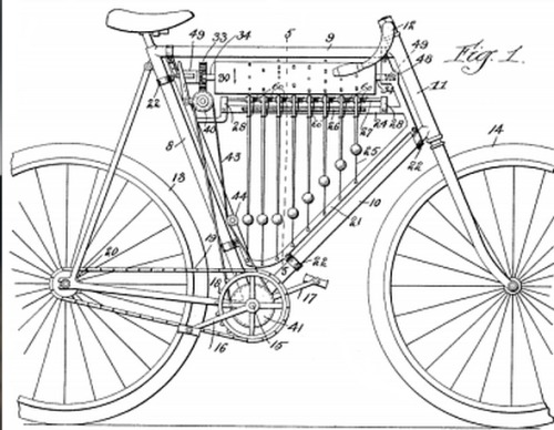 (via MAKE | Samuel Goss's Musical Bicycle 1899) If Samuel Goss, the inventor of this musical bicycle from 1899, could have traveled forward in time he would have fit right in at Maker Faire!  My invention relates to bicycles, and has for its object to provide a combined bicycle and musical instrument whereby the rider when so disposed may treat himself and others in his immediate neighborhood to a musical accompaniment as he rides along.