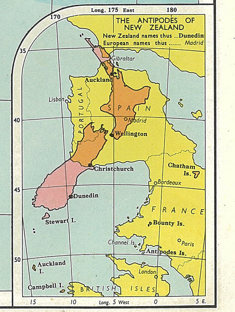 "The Antipodes of New Zealand 'The Antipodes of New Zealand' is a strange little inset showing the relative size of New Zealand (and surrounding islands) against an upside down and back-to-front map of south western Europe. But why? From the Collins Australian Clear School Atlas (1964) ""SOLUTION"" HERE"
