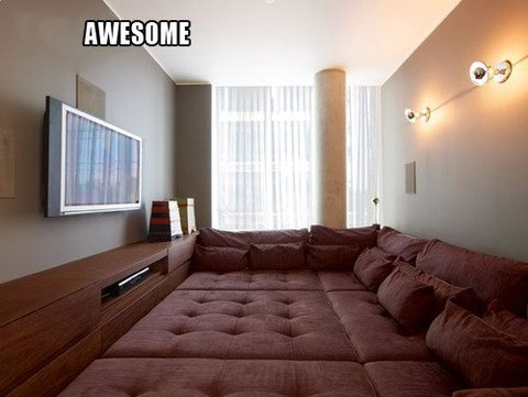 I want this in my house for a few reasons: I won't fall off the bed… Ever. Fabulous movie nights with friends. Probably the best ever. … Okay~ 4. I could sleep anywhere I wanted to in this entire room. So much variety each night. 5. Amazing flips could be done attempted  I need this because of reasons.  NEEEEED  Dear Santa…  Dear Future Wife/Husband, I FOUND OUR FUTURE BEDROOM.