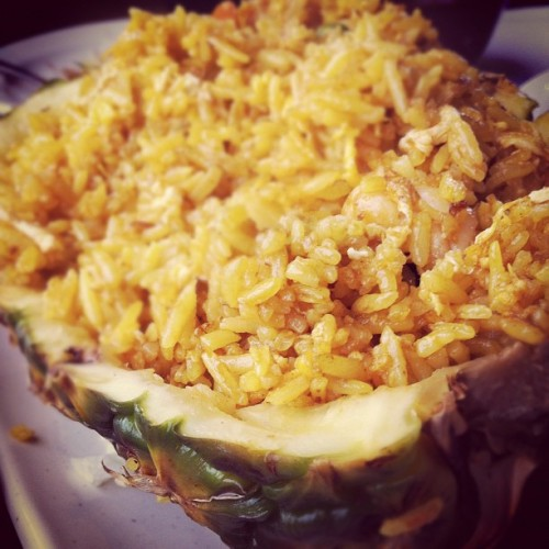 Pineapple fried rice #bananaleaf #malaysianfood #foodforfoodies #iphoneography #foodiefiles #foodporn #nomnation #nomnomnom #shrimp #pineapple #rice (Taken with instagram)