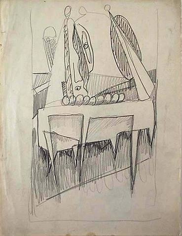 "Mark Rothko, Untitled, Study related to ""Sacrifice of Iphigenia"" (recto); Study related to ""The Omen"" (verso), 1942-43"