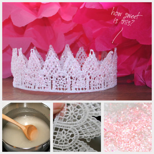 rainbowsandunicornscrafts:  DIY Glitter Tiara Using Sugar Starch. I wish I had seen this when I did my crown/tiara roundup here, because I like the idea of using sugar starch (sugar and water) as a stiffener. Easy tutorial from Trinkets in Bloom here.