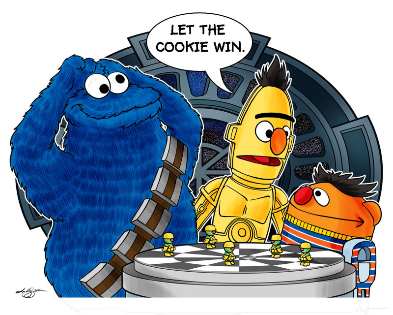 "uncalar:  ""Let the Cookie Win"". With thanks to @Toomuch_tv for the inspiration. :)"