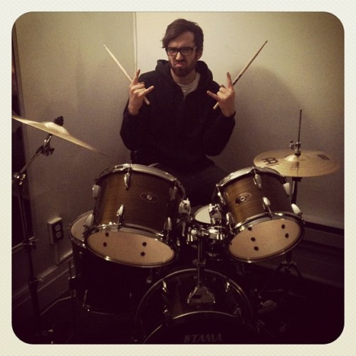 Tim with new drum kit = Maru with a cardboard box (Taken with instagram)