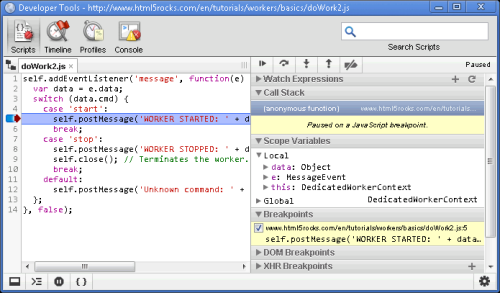 Chromium Blog: Debugging Web Workers with Chrome Developer Tools