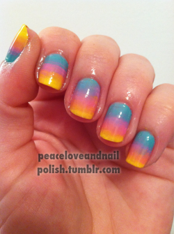 peaceloveandnailpolish:  Gradient using a fan brush, I love these & it was so easy! I used China Glaze Aquadelic, Dance Baby, and Happy Go Lucky