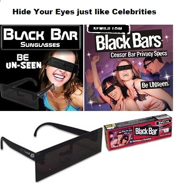 Hide Your Eyes  Black Bar Privacy Sunglasses Get the Privacy Sunglasses Great for parties, clubs, and anywhere you want to go incognito put them on and viola, no one will recognize you !