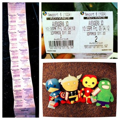 So today I bought movie tickets to another showing of Avengers on Friday. I bought 10 tickets, that is so freaking expensive. This one is in 3D, hopefully this theater will get the Avengers glasses :3!!!  Also all this Avenger hype may annoy other fans but I enjoy the promotional items that continue that hype. Seriously this is so freaking cute.