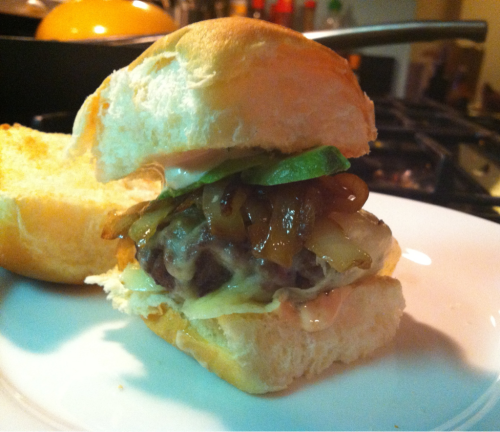 "Homemade Sliders  I love In-N-Out and I love mini foods.This recipe combines my two loves perfectly!  Grass-fed beef Caramelized onions Homemade In-N-Out ""Spread"" (3 part mayonnaise, 2 part ketchup, 1/2 part relish) White sharp cheddar cheese Avocado slices King's Hawaiian sweet rolls (lightly toasted)"