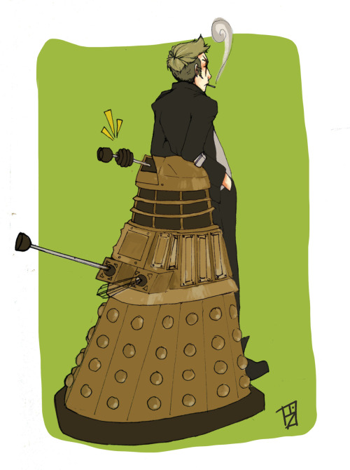 bskizzle:  LOOK FINISHED ONE WHOLOCK PIC! This is the Moran Dalek one….::pokes Aly:: sorry it took so long D:
